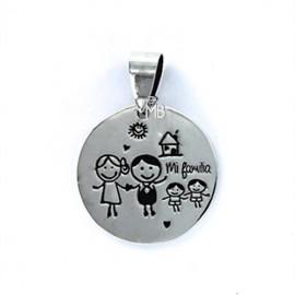 """Colgante Plata """"My family"""" -mi familia con 2 niños-"""