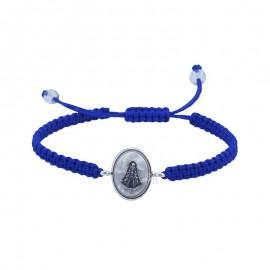 Pulsera Virgen del Rocío Plata 925mls macramé azul