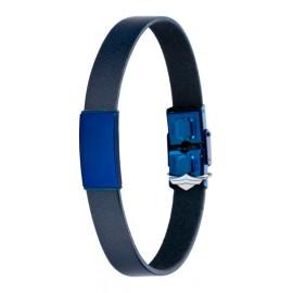 Pulsera Manuel Carrasco, Marea, D00103-28, Cuero Negro y Acero ip Azul